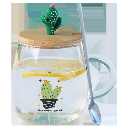 家用带盖勺把ins风可爱简约玻璃杯