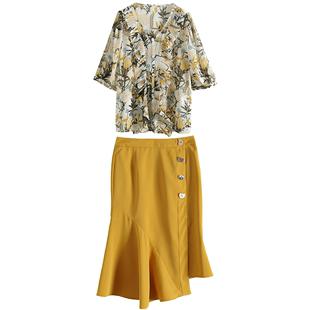 鹿歌2020夏季新款洋氣時尚印花t恤半身裙名媛氣質套裝兩件套女士