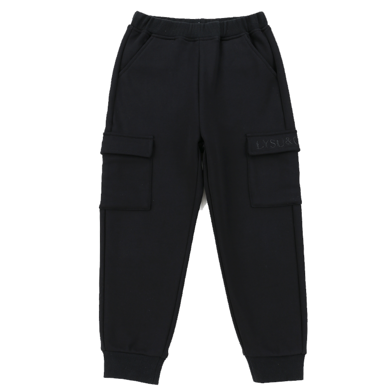 Lysucs童装儿童工装裤男潮牌男童女童工装裤2019新款洋气加绒潮