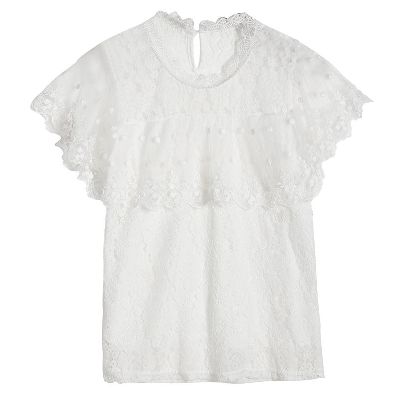 韩版蕾丝打底衫女短袖镂空上衣超仙洋气2020夏季新款显瘦网纱小衫