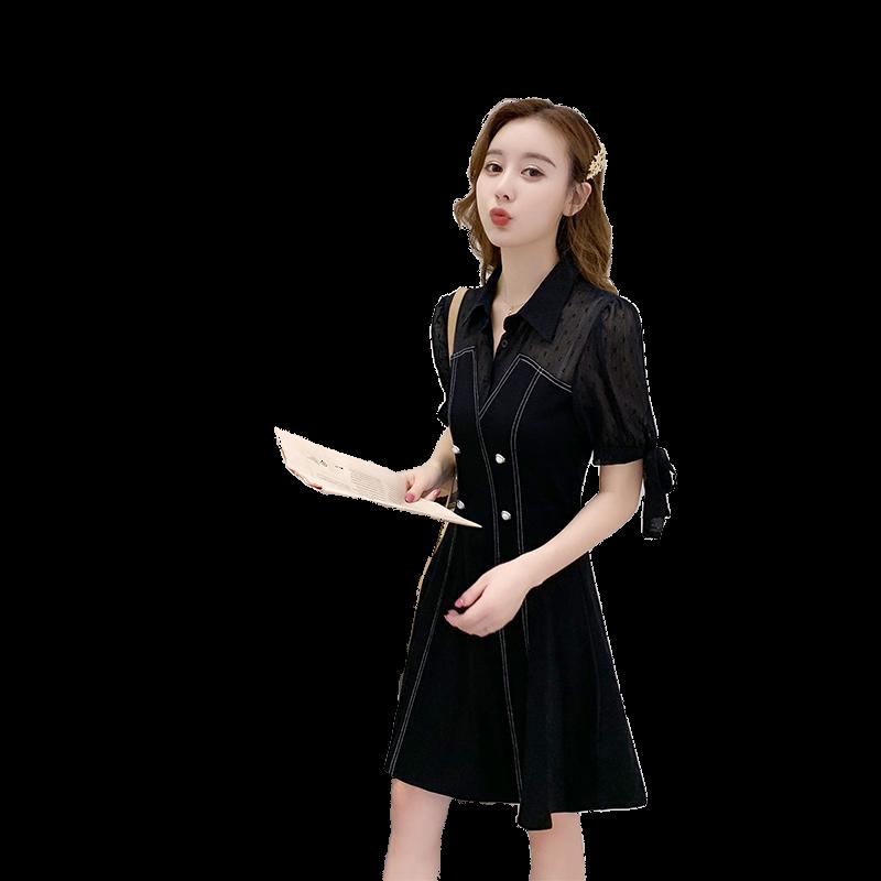 2020年新款女装夏季POLO领女裙假两件显瘦北欧小香风小个子连衣裙