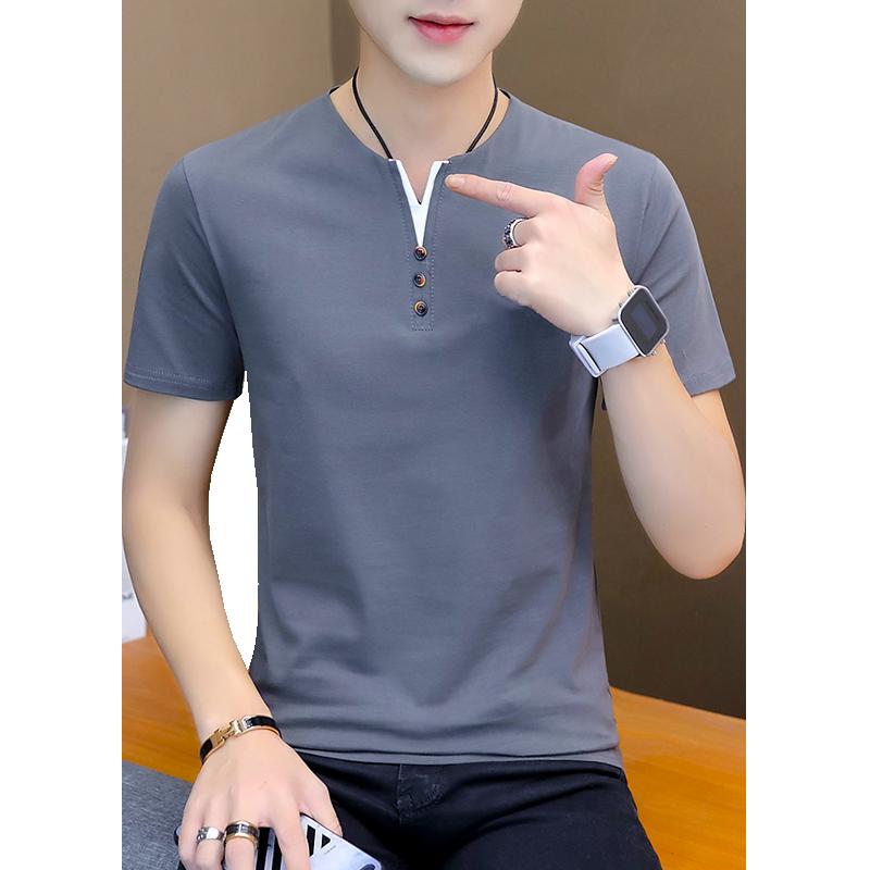 夏季男士短袖T恤男装纯色冰丝半袖潮流夏装潮牌纯棉上衣服体恤桖
