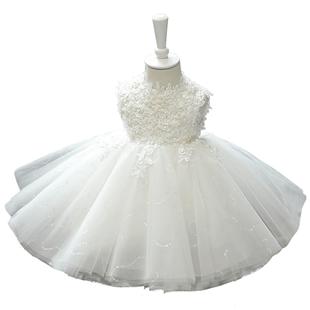 兒童週歲禮服女寶寶公主裙白色女童走秀鋼琴演出服花童蓬蓬紗裙秋
