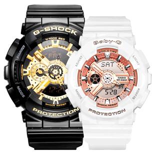 卡西歐情侶手錶一對李現楊紫同款g-shock/baba-g黑金火烈鳥運動表