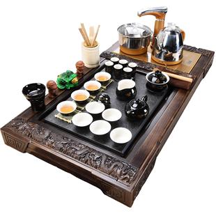 夏薇功夫茶具套裝家用整套紫砂陶瓷喝茶台茶海實木茶盤茶道全自動