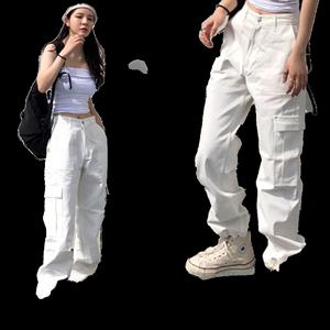 ins白色显瘦高腰嘻哈爵士舞工装裤