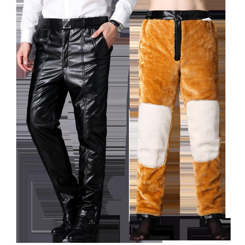 皮裤男冬季中老年皮毛一体加绒加厚宽松保暖防水摩托车男士棉裤子