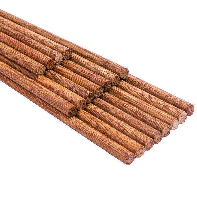 鸡翅木质筷子家用实木儿童高档礼盒原木日式无漆无蜡10双家庭套装
