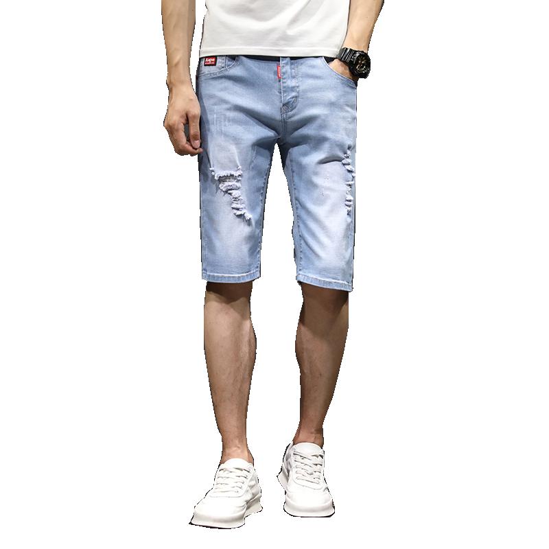 夏季薄款弹力破洞牛仔短裤男五分裤男士牛仔七分马裤宽松休闲中裤