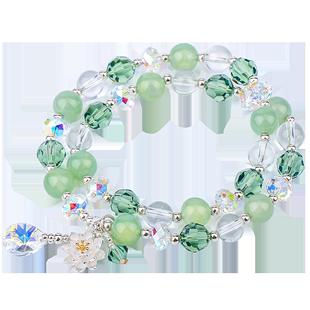 水晶手鍊女天然瑪瑙手串轉運珠子串珠純銀首飾ins小眾設計手飾珠