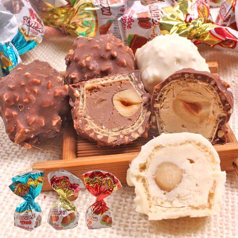 俄罗斯进口巧克力威化花生榛仁夹心奶罐喜糖果250g甜品年货零食品