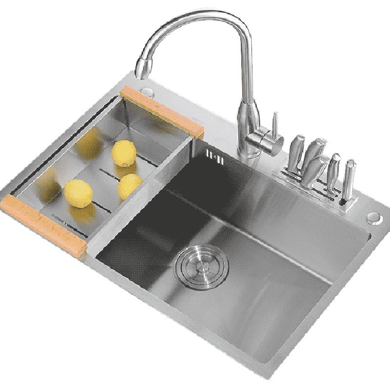 箭牌廚房304加厚不鏽鋼水槽套餐手工單槽大洗碗台下淘菜盆水斗池