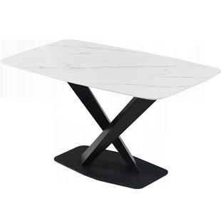 意式極簡巖板餐桌現代簡約輕奢家用創意北歐風長方形大餐桌椅組合
