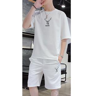短袖男2019新款潮流一套装夏季t恤