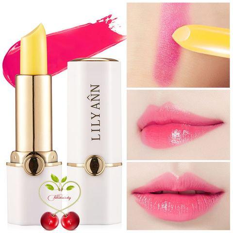 红樱桃健康唇膏正品胡萝卜素温变唇膏修护滋润持久不掉色传奇口红