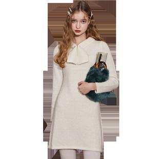 樂町官方旗艦店連衣裙春季2020新款女裝收腰針織裙中長款裙子顯瘦
