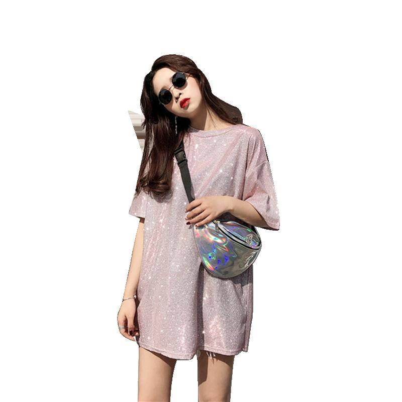 2019夏季新款下衣失踪半袖上衣韩版闪亮晶晶圆领宽松中长款T恤女