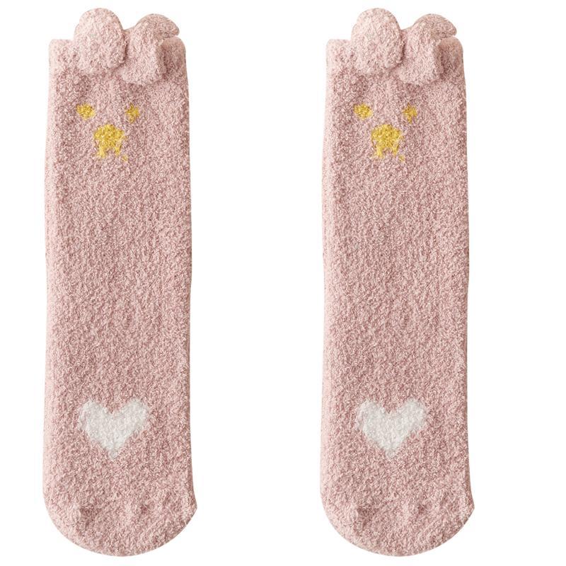 冬季袜子女加厚珊瑚绒保暖居家毛巾月子睡眠地板袜可爱冬天长袜女