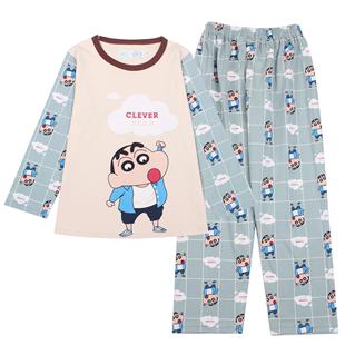 男童睡衣春秋長袖薄款純棉兒童睡衣男孩夏季卡通中大童全棉家居服