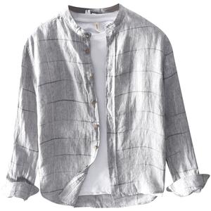 极麻复古格子立领秋季长袖亚麻衬衫