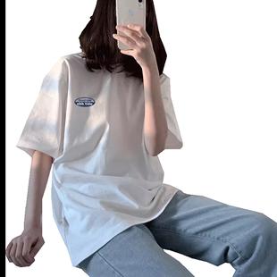 網紅白色純棉短袖t恤女夏裝2020新款寬鬆學生半截袖上衣潮ins情侶