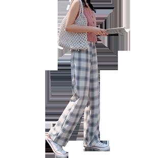 墜感格子闊腿褲女春秋季學生韓版寬鬆高腰垂感顯瘦百搭直筒休閒褲