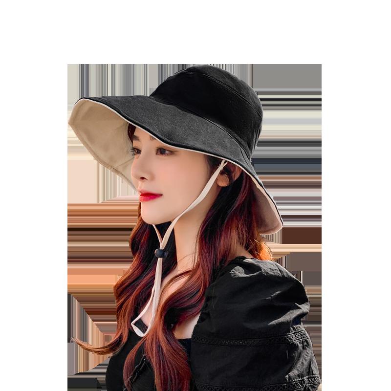 双面渔夫帽女韩版潮百搭日系遮脸遮阳帽防晒紫外线太阳帽夏季帽子