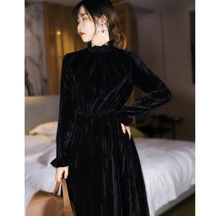 法式復古 真絲絲絨連衣裙女黑酒紅 秋冬宮廷風立領木耳邊氣質長裙