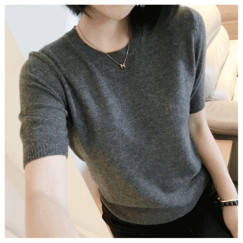 19春夏装新款宽松显瘦t恤女短袖半袖体恤白色上衣针织毛衣打底衫