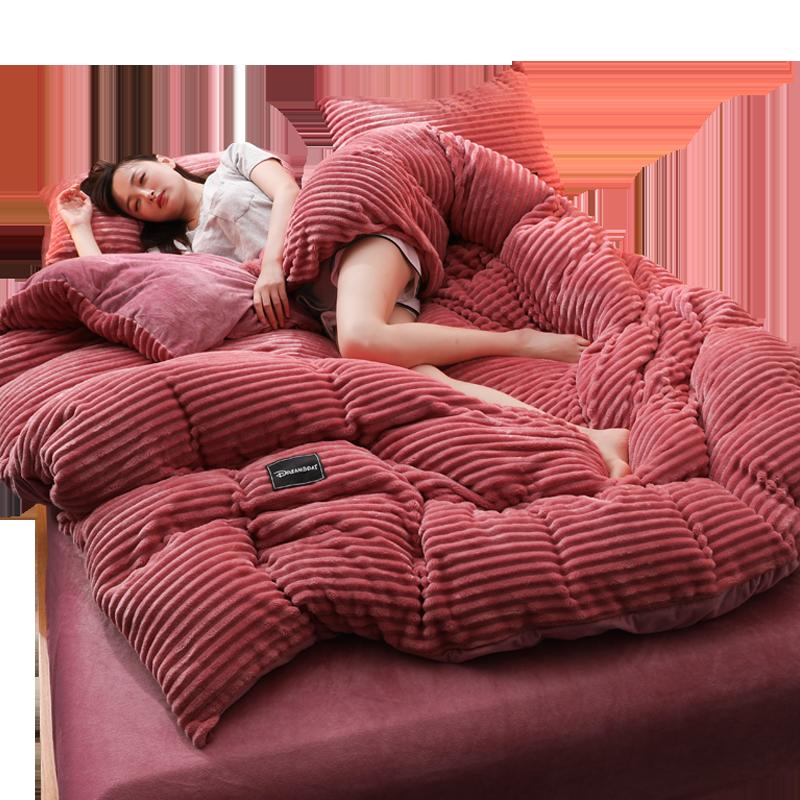 法莱绒四件套珊瑚绒床上床单被套法兰绒双面水晶绒冬季加厚保暖4