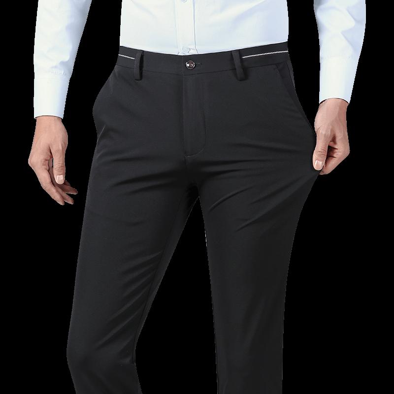 南极人夏季薄款西裤男士修身黑色商务韩版潮流裤子小脚弹力休闲裤