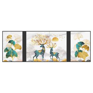 幸福錦鹿客廳裝飾畫現代簡約沙發背景牆輕奢掛畫牆面三聯裝飾壁畫