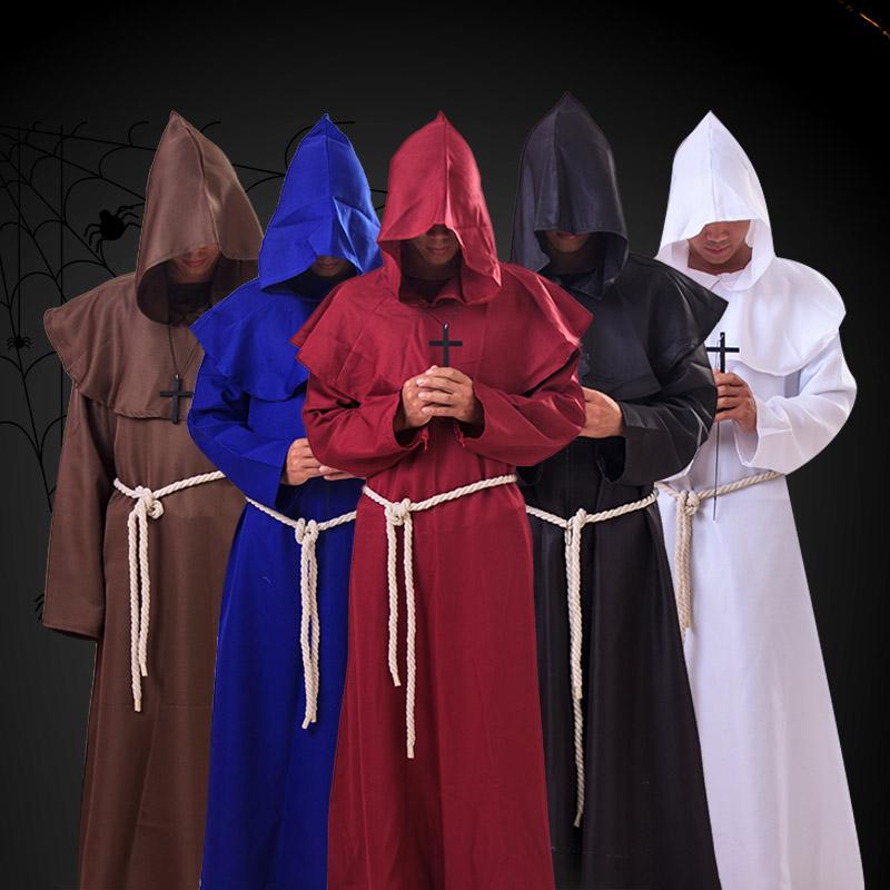 万圣节服中世纪僧侣服修道士连帽长袍巫师服牧师服基督徒CPY