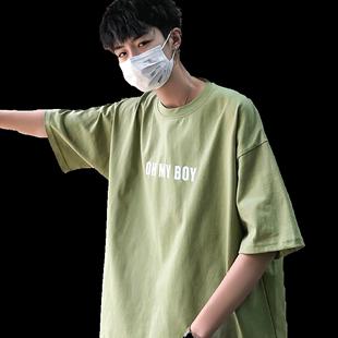 潮流夏季印花T恤男短袖bf學生休閒百搭上衣ins圓領寬鬆半袖打底衫