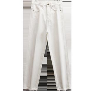 白色加絨哈倫牛仔褲女九分直筒寬鬆高腰顯瘦秋季加厚絨老爹蘿蔔褲