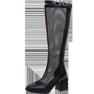 長靴女2020夏季新款鏤空網紗增高網紅瘦瘦靴高跟顯瘦長筒不過膝靴