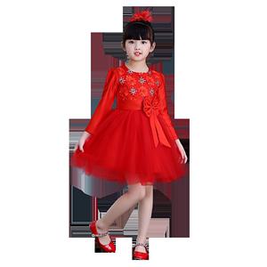 新年儿童女女童蓬蓬纱裙舞蹈公主裙