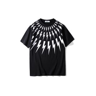 OLOUSTROUBIS2019夏季新款圆领休闲短袖tee潮闪电印花纯棉T恤男女