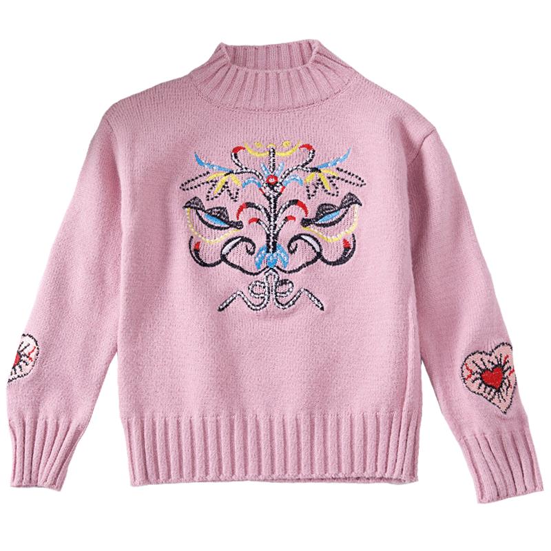 女童毛衣2019新款洋气秋冬儿童装套头针织打底衫女孩高领加绒加厚