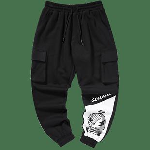 GENANX閃電潮牌運動褲男寬鬆2020新款多口袋印花收腿休閒褲男學生