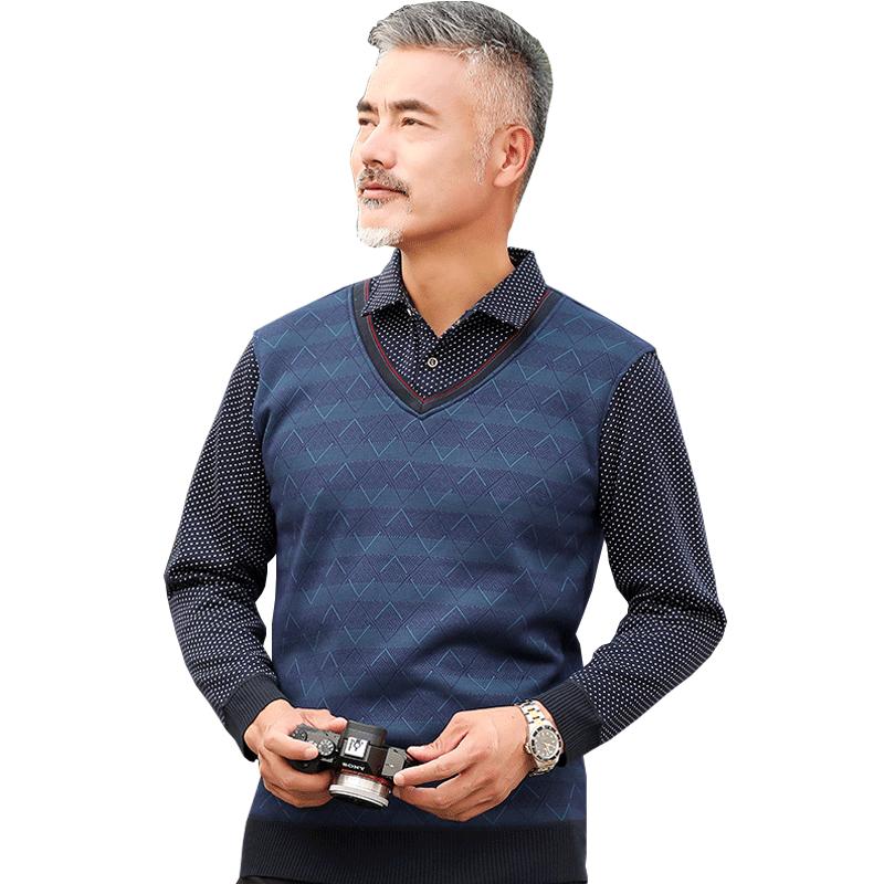 中年爸爸秋装长袖T恤翻领假两件40-50岁中老年人男装针织衫上衣