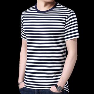 啄木鳥短袖t恤男士半袖夏季純棉男裝潮流2020新款圓領條紋上衣服