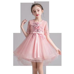 愛莎公主裙女童連衣裙春夏蓬蓬紗裙兒童拖尾花童婚紗禮服表演服