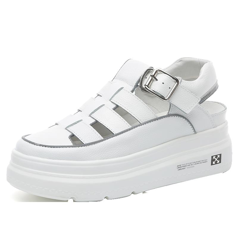 包头凉鞋女2020新款夏季运动休闲软底松糕厚底真皮镂空妈妈罗马鞋