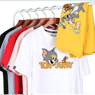 夏潮牌網紅同款貓和老鼠t恤女短袖寬鬆bf半袖閨蜜情侶裝t恤男上衣