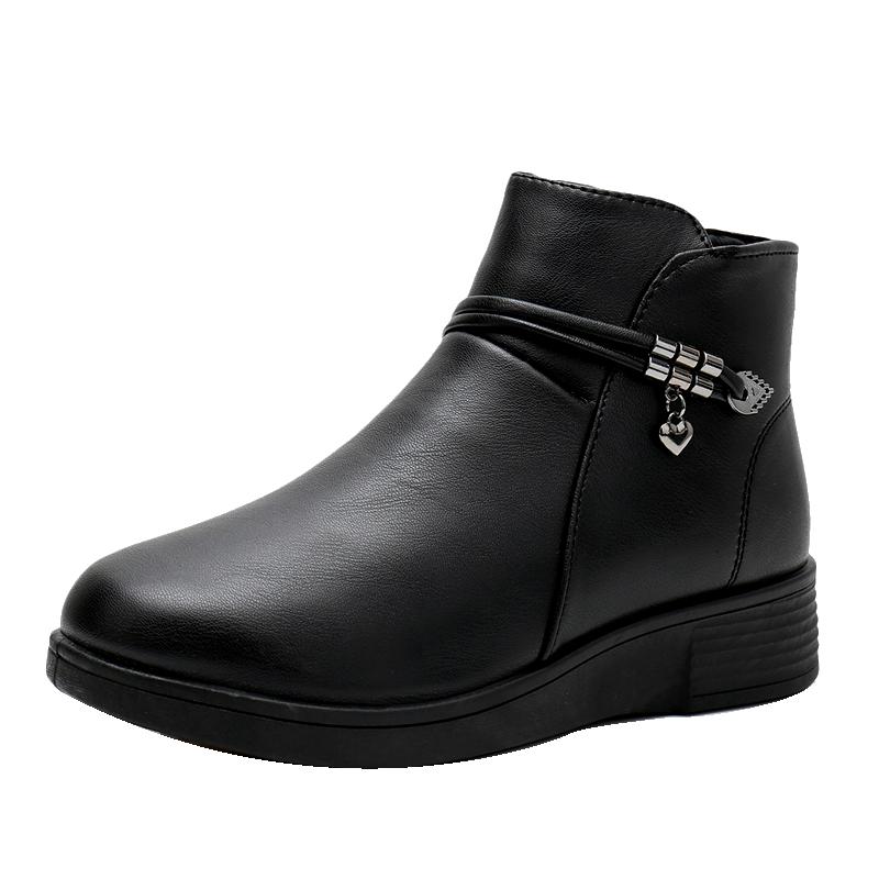 中老年平底妈妈棉皮鞋女冬季保暖加绒软底短靴老人棉靴妈妈鞋棉鞋