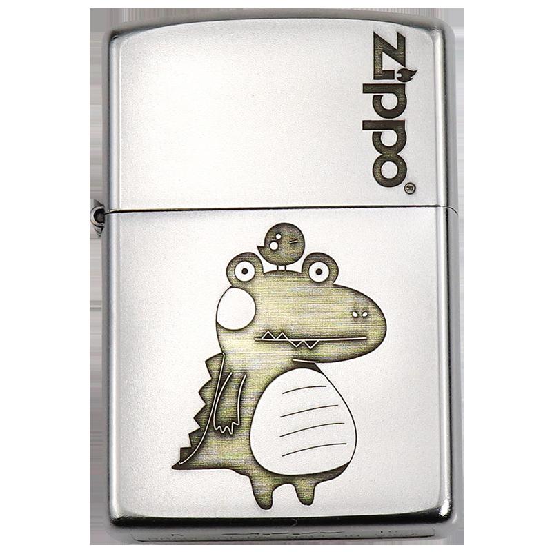 zippo芝宝正版打火机小恐龙防风创意恐龙个性男士七夕情人节礼物