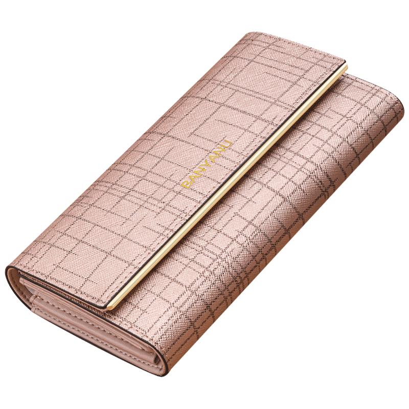 钱包女长款2021新款时尚真皮小ck女士钱包折叠式钱夹简约手拿包女
