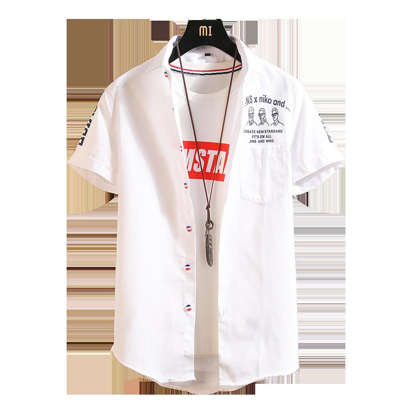 格子衬衫男短袖夏季韩版潮流半袖白衬衣男士夏装帅气外套港风衣服