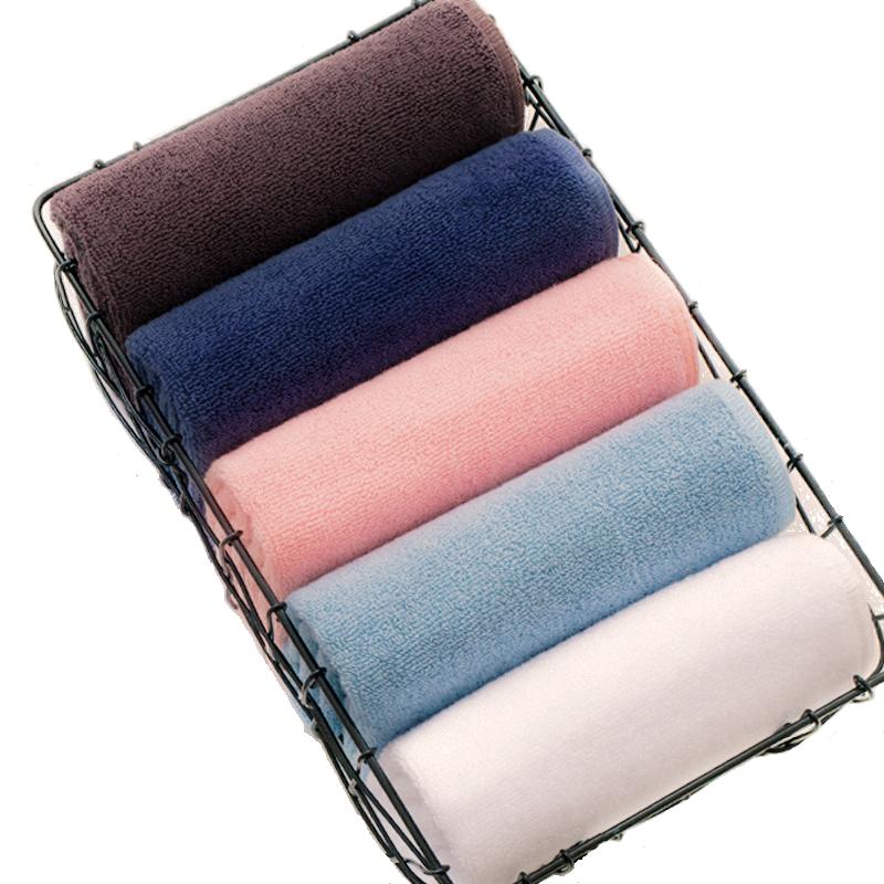4条装洗脸毛巾纯棉家用柔软不掉毛纯色面巾全棉吸水加大男女洗澡